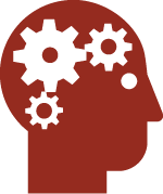 human head icon with gears in brain crimson
