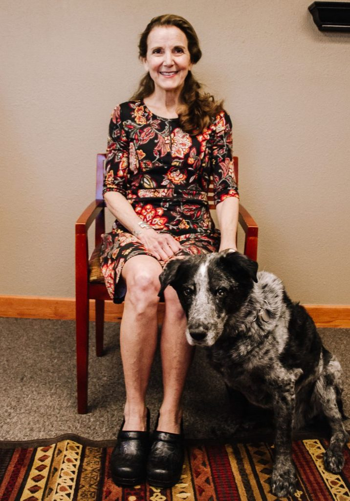 Kathleen Lauren Ed.D Clinical Neuropshchologist, Clinic Director with her dog Aiden in Fort Collins Colorado